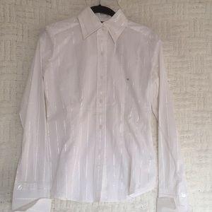 New York & Company Stretch Button Down Shirt XS